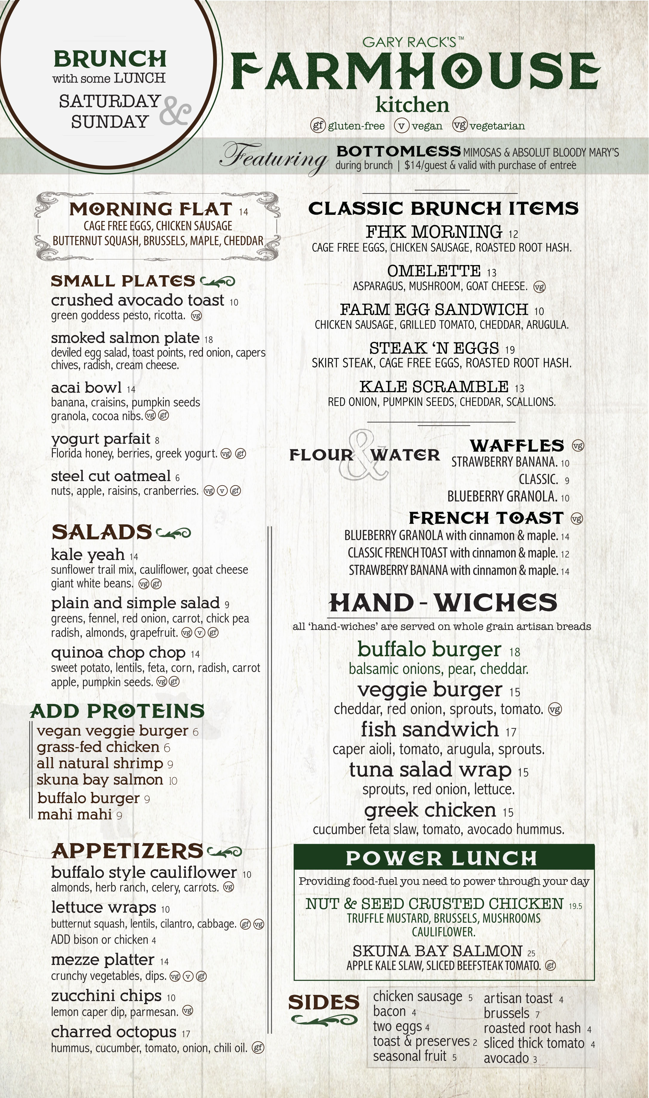 Farmhouse Kitchen Boca Brunch Menu 2016