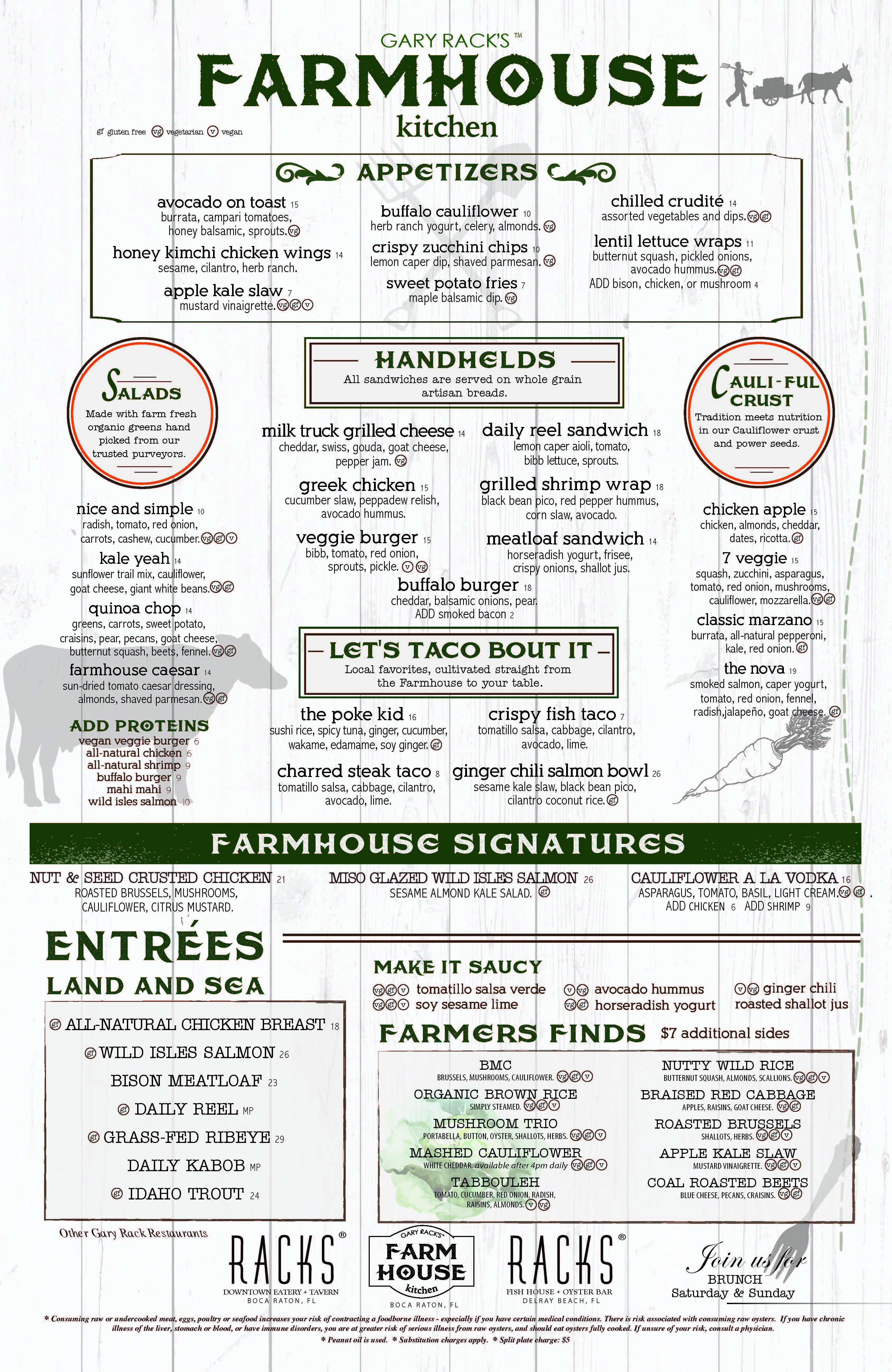 Farmhouse Kitchen Boca Dinner Menu 2016
